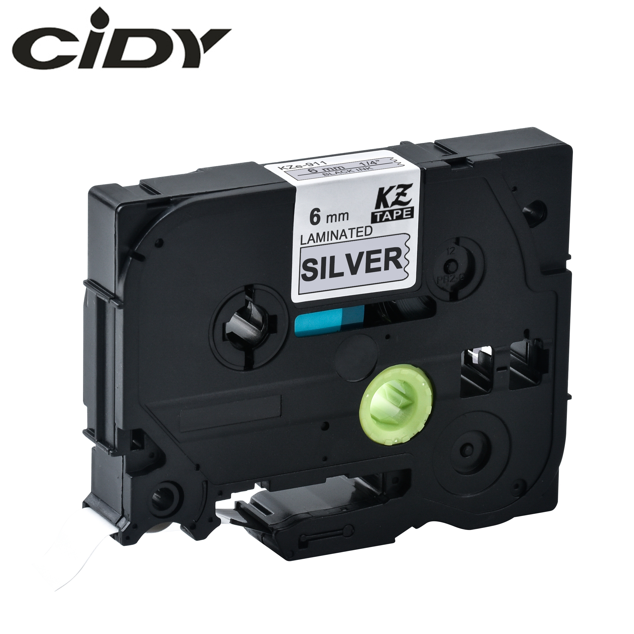 CIDY Tze 911 Tz911 6mm Black On Silver Laminated Compatible P Touch Tze-911 Tz-911 Tze911 Tze Label Tape Cassette Cartridge