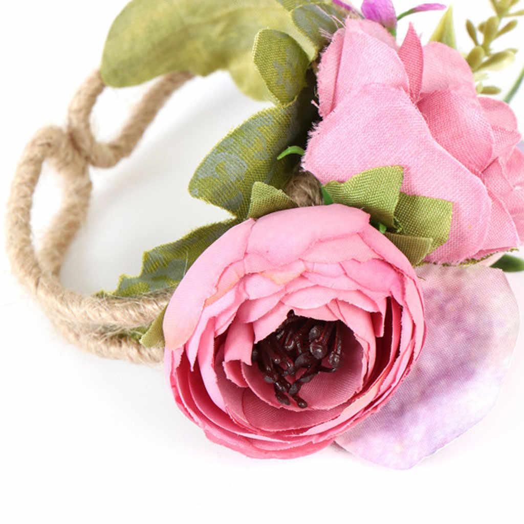 2019 ใหม่สำหรับผู้หญิงพรหมป่างานแต่งงานเจ้าสาวสร้อยข้อมือ Bridesmaid Bouquet ดอกไม้สายรัดข้อมือพวงหรีดเครื่องประดับสตรี # SP30