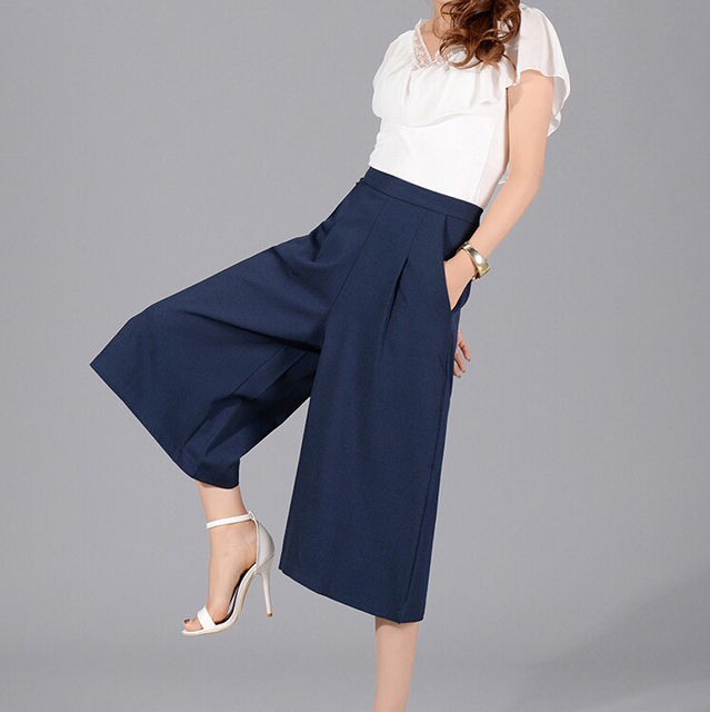8b358fa2a89 2015 New Casual Women Loose Wide Leg Pants Elastic Waist Baggy Pant For  Work Midweight Summer Chiffon Capris Plus Size