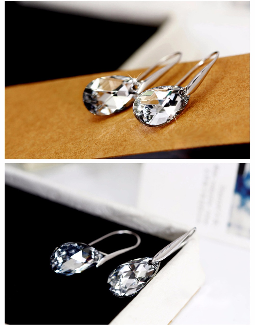 New 925 sterling silver 100% Original Crystals From Swarovski Crystal Earrings Earrings Party 925 Jewelry ...