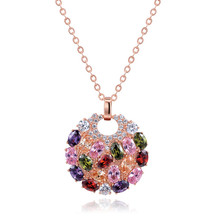Multicolor AAA Crystal Zircon Round Necklaces & Pendants for Women 18k Rose Gold Plated Pendant Necklace Party Accessory