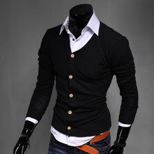2019 New Boutique High-end Brand Solid Color Official Social Business Mens Knit Sweater Coat / Thin Casual Mens V-neck Sweater
