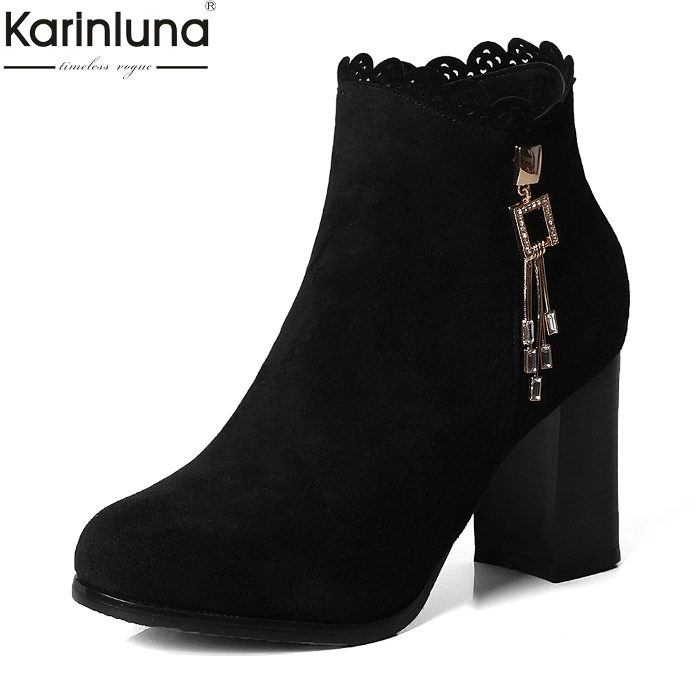 все цены на Karinluna 2018 Large Size 34-48 Zip Up Hot Sale Women Boots Shoes Woman Chunky High Heels Ankle Boots Woman Shoes
