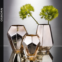 nordic decoration home Simple Abstract Table Hotel Dry Flower Arrangement Golden Glass Vase Modern Nordic Living Room Decoration