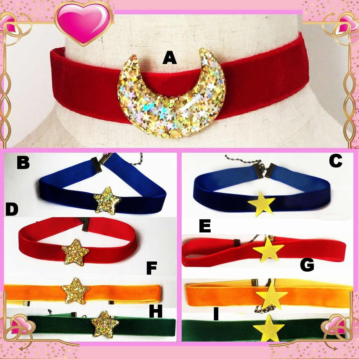 Anime Sailor Moon Tsukino Usagi Stelle Della Collana Del Choker Big Pendente di Lolita Cosplay