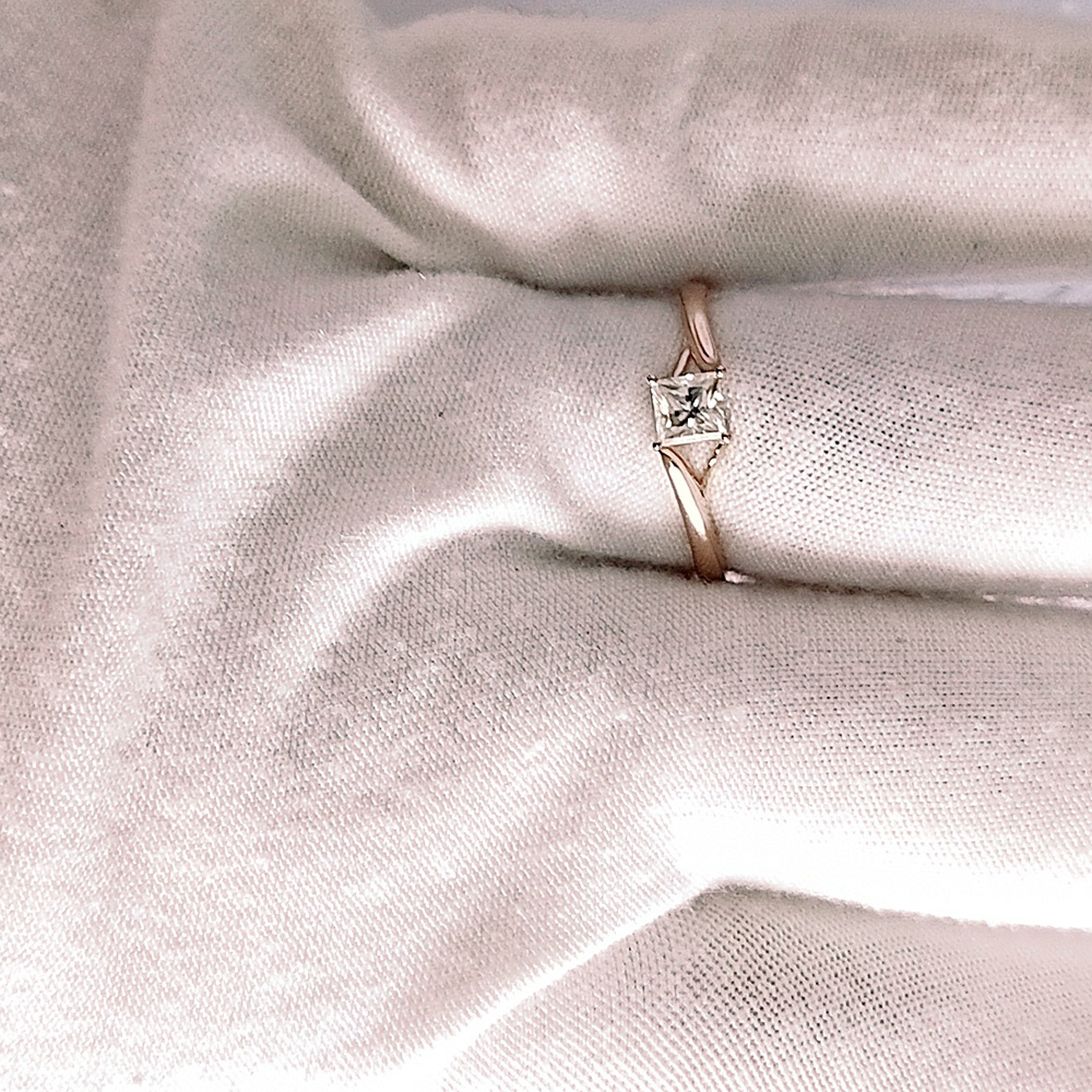 4mm 0.5ct 캐럿 우아한 def 컬러 공주 헤일로 약혼 웨딩 moissanite 다이아몬드 반지 여성을위한 진짜 14 k 585 옐로우 골드-에서반지부터 쥬얼리 및 액세서리 의  그룹 2