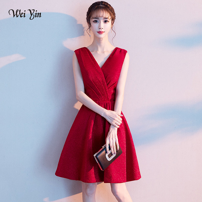 wei yin 2019 Sexy Short   Cocktail     Dresses   Bridal Banquet Wine Red Party Formal   Dress   Homecoming   Dress   Robe De Soiree WY1629