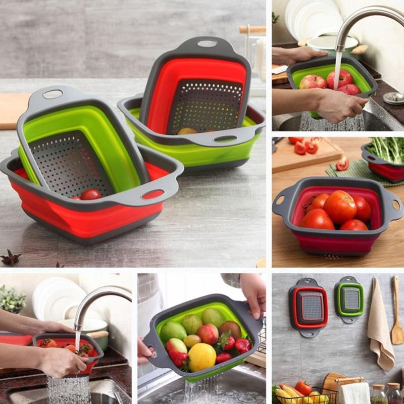 Home Kitchen Tools Circular Telescopic Folding Leachate Silica Gel Basket Fruit Washing Basket Collapsible Drainer With Handle