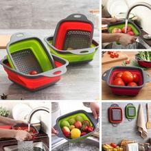 Кухонные инструменты для дома, круговая телескопическая складная корзина из силикагеля, корзина для мытья фруктов, Складная Сушилка с ручкой