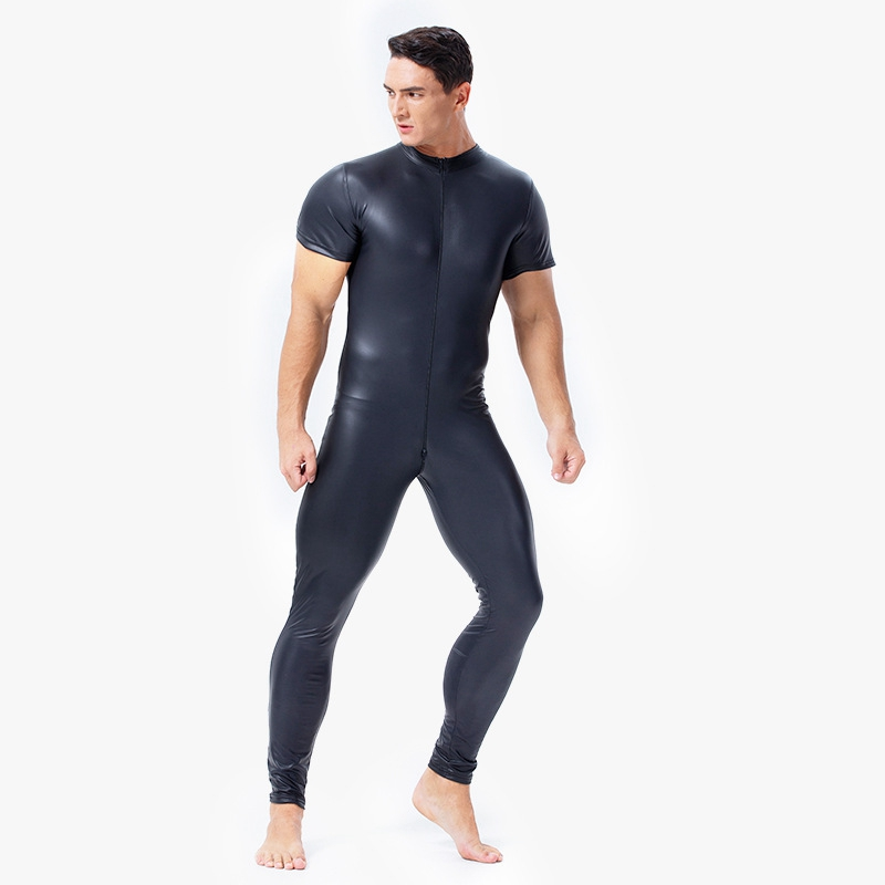 Men Sexy Wetlook Faux Leather Catsuit PVC Latex Bodysuit Gay Zipper Open Crotch Clubwear Fetish Hot Erotic Pole Dance Lingerie