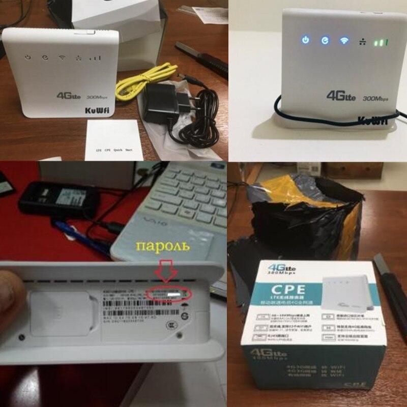 KuWFi débloqué 300 Mbps 4G LTE CPE routeur intérieur sans fil WiFi Mobile 2.4 GHz Hotspot WFi avec Port Lan fente pour carte SIM - 3