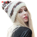 New 2016 Fashion Knitted Hat Warm Women Winter Cap Fur Pompom Hat Woman Fall Cap Chapeu Masculino Gorros Mujer Invierno De Pelo
