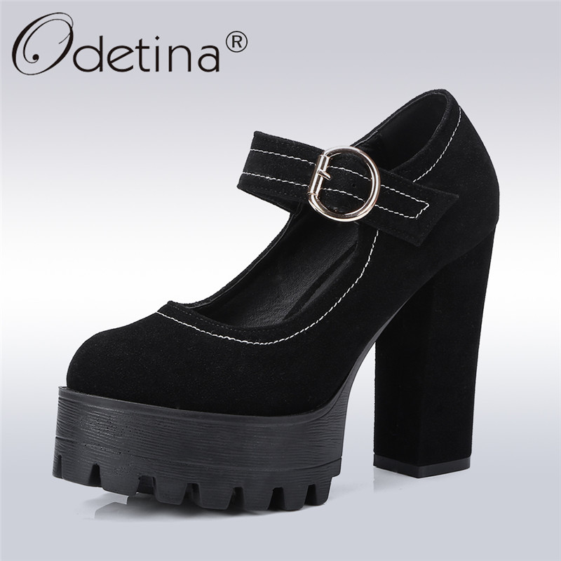 Odetina 2018 New Fashion Women Extrem High Heels Pumps Platform Buckle Strap Mary Janes Shoes Lady Square Heel Flock Pump Shoes xiaying smile summer new woman sandals platform women pumps buckle strap high square heel fashion casual flock lady women shoes