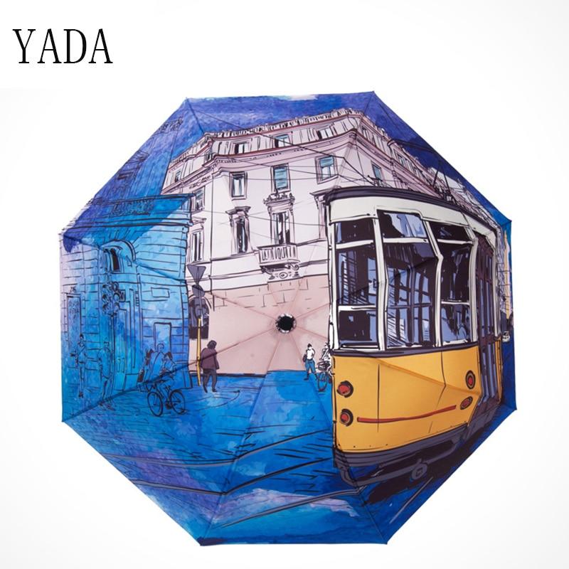 YADA Dropshipping Charms BUS Pattern Umbrella Rain Women uv High Quality For Womens Windproof Folding Umbrellas YS117