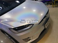 Premium White Gloss Psychedelic Vinyl Wrap Car Body Film Air Bubble Free For Car Sticker