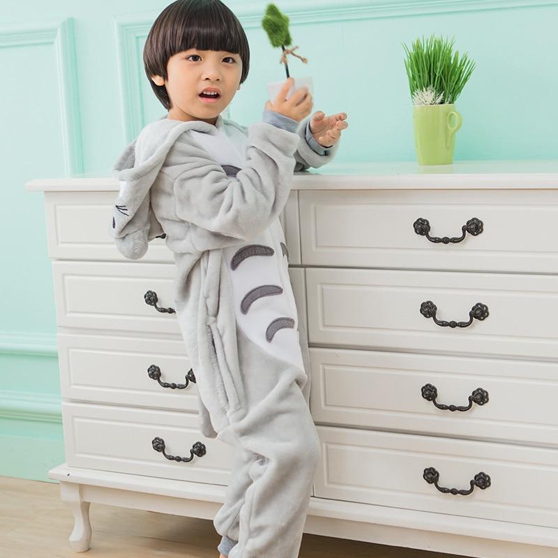 2017 New Cartoon pajamas Children Kigurumi Winter Flannel Kids Sleepwear for boys girl clothes Cute Totoro Pajamas