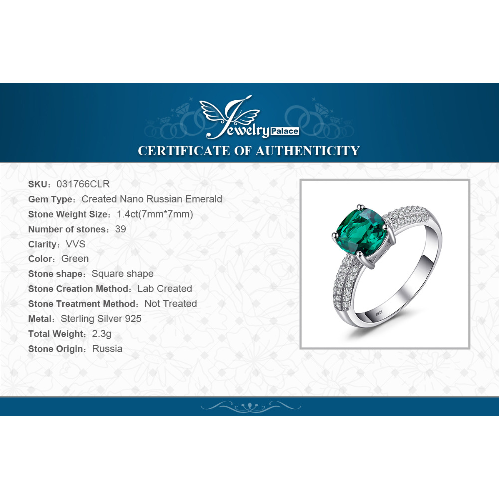 JewelryPalace 1.7 ct Cushion Cut stvorio Emerald Vjenčanje bendova - Fine nakit - Foto 6