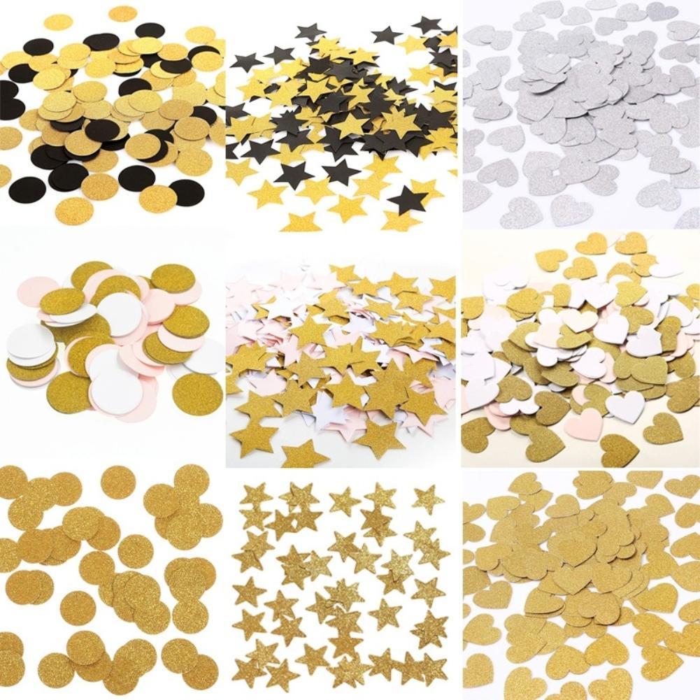 100Pcs 3cm Dots Heart Star Tissue Paper Confetti Glitter Gold Silver Mini DIY Confetti Filling Balloon Party Wedding Decoration