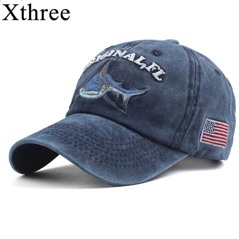 Gorra de béisbol Xthree 100% algodón lavado hombres gorra ajustada gorra snapback sombrero para mujeres gorras casual casquette bordado letra retro gorra