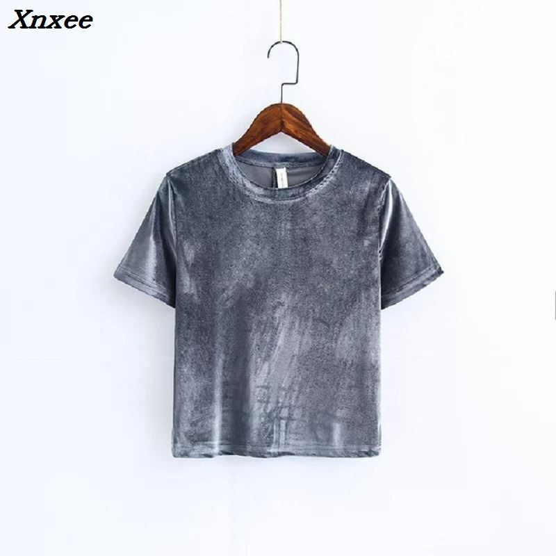 Summer 2018 Autumn women Sexy velvet color fashion short sleeve t shirt Tube camisole velvet tshirt women tops crop top t shirts in T Shirts from Women 39 s Clothing
