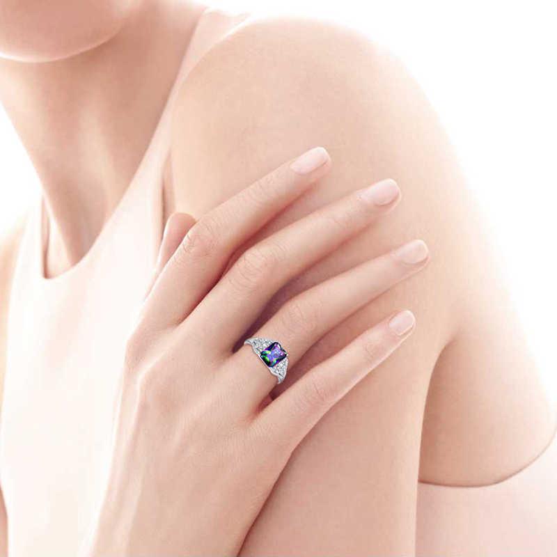 Hot มรกตตัด 3ct Mystic Fire Topaz หมั้นแหวน 925 เงินสเตอร์ลิงแหวนเงินผู้หญิง