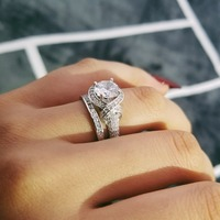 2019 new fashion S925 Sterling Silver Rings women wedding engagement Luxury bridal bride jewelry wholesale personalized R4320S