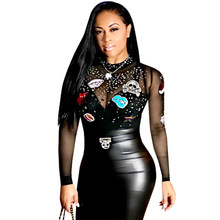 Sexy Rhinestone Mesh Bodysuit Women Tops Black Long Sleeve See Through  Sequin Bodycon Jumpsuit Romper Party Club Overalls Female f20be1166