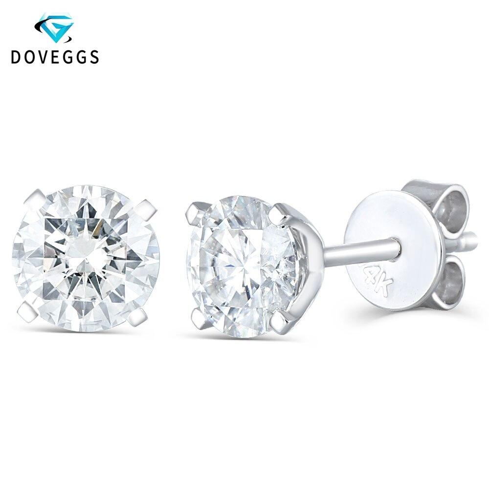 Doveggs elengant 14 k 585 화이트 골드 1ctw 5mm f 컬러 하트와 애로우 컷 랩 여성용 moissanite 스터드 귀걸이-에서귀걸이부터 쥬얼리 및 액세서리 의  그룹 1