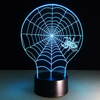 3D Lamp Spider Night Lights 7 Color Changing USB Optical Illusion Home Decor LED Table Lamp