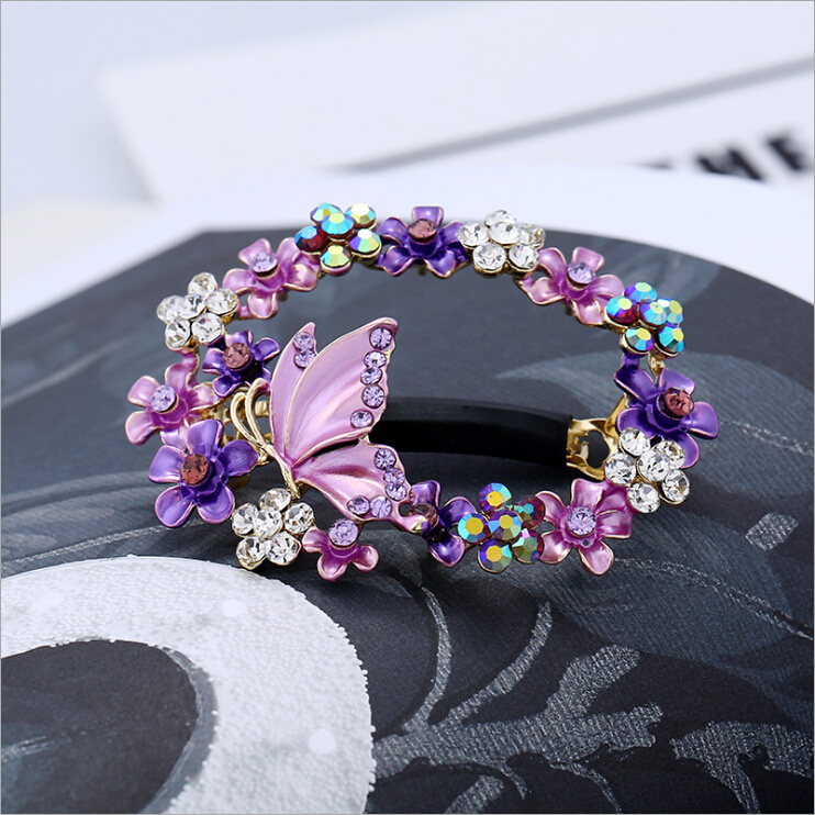 Retro Painted Hollow Flower Hairpin Rhinestone Girls Hair Clips Barrette Accessories For Women Hairgrip Headdress Hairclip Tiara