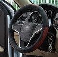 Superior do couro Quatro estações Tampa Da Roda de Direcção do carro, capas de carro-capas para volante-volante omp volante preto 38 cm