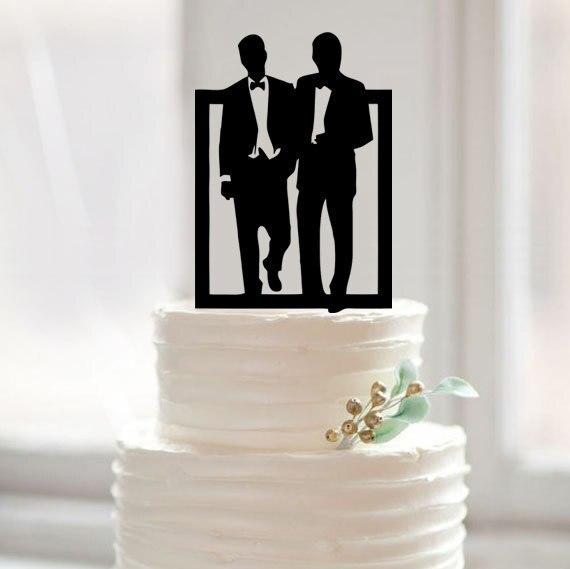 Gay Cake Topper For Modern Wedding Wedding Cake Topper Silhouette