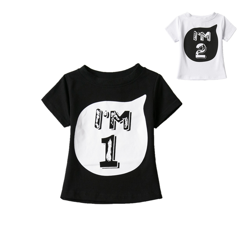 Newborn Clothing Baby Boys Girls Cotton T-shirts White Black Tees For Kids Clothes Summer 1st Year Birthday Clothes boys bebes  2017 spring longsleeve cotton t shirts for girls clothing tops baby kids clothes lace bowknot korean style children girls tees