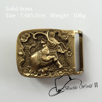 Retail New Style High Quality Solid Brass Cool 3D Elephant Belt Buckle For 4cm Wide Belt