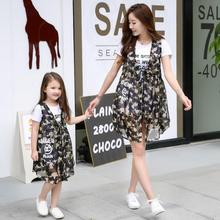 2016 Cotton Matching Mother Daughter Clothes 2 pieces Fashion T shirt for Girls And ;Ladies Summer Clothing Family Matching.