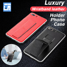 Luxury Leather Wristband Holder Phone Case for iPhone X 7 8 6 6S Plus Stand Silicone Soft XS Max XR Cover Fundas