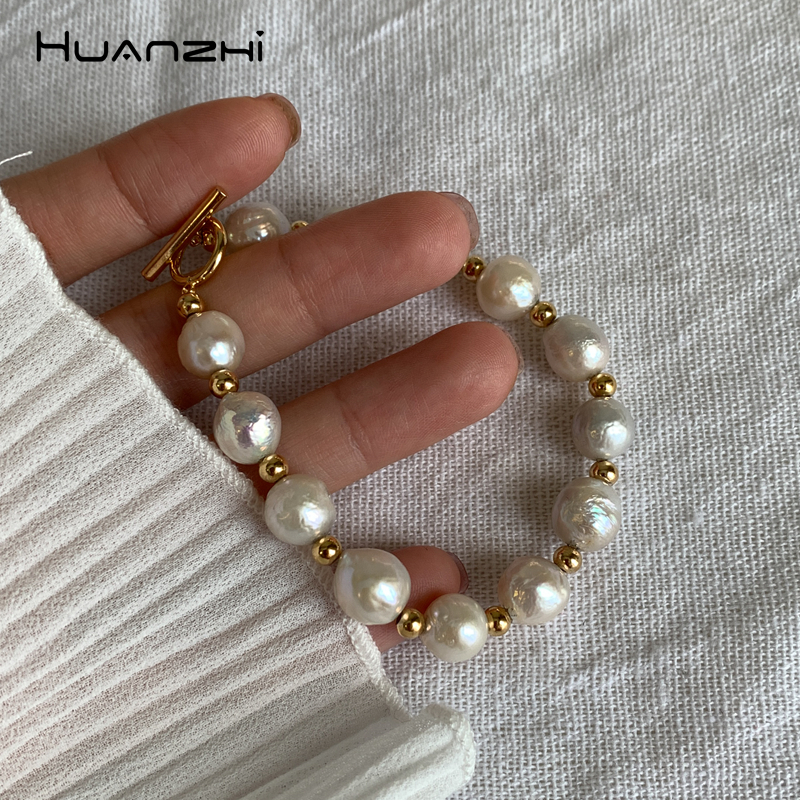 Jewelry & Accessories Apprehensive Huanzhi Vintage Gold Metal Plated Chain Link Natural Freshwater Baroque Pearl Bracelets For Women Girl Feminina Jewelry Bangle 100% Original Bracelets & Bangles