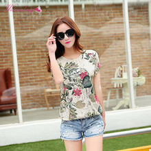 Women's Summer Fashion Floral Print Blouses Ladies Shirts To