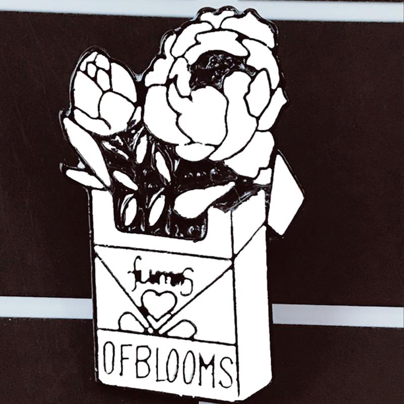 Rokok Rose Kotak Bros Asap dari Bunga Tangan Memegang Rose Merokok Kartun Enamel Bros untuk Pria