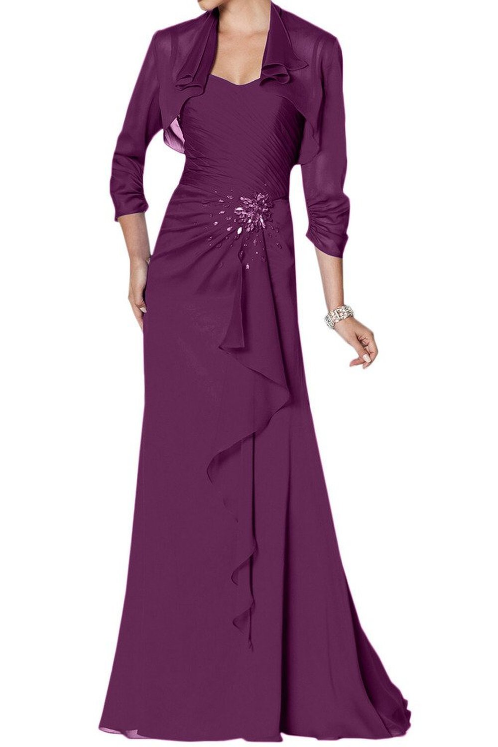 Purple Strapless Chiffon Sheath Beaded Floor Length Mother Of The Bride Dress With Jacket