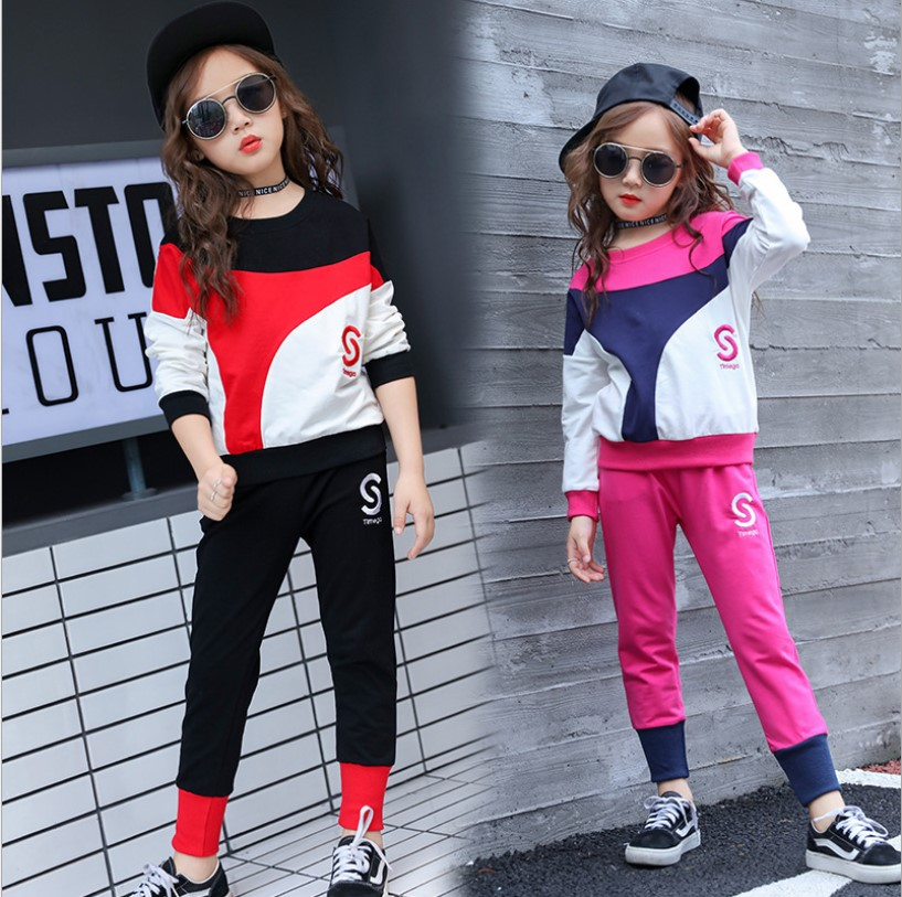 Childrens Tracksuit Spring Quality Cotton Long Sleeve School Girl Outfit Hip Hop Girls Clothing Set 4-12y Kids Teens Clothes 2pc 2017 cotton toddler kids girls clothes sleeveless floral romper baby girl rompers playsuit one pieces outfit kids tracksuit