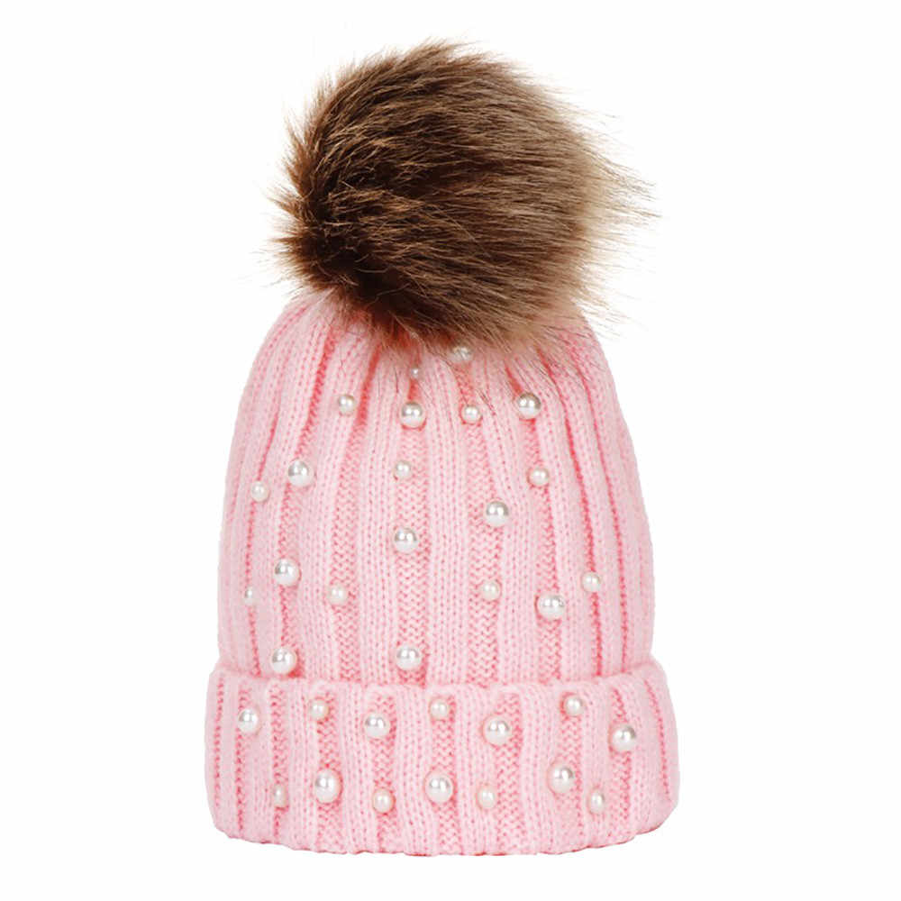 28d80dc5c Winter Brand Baby Boys Girls Fur Pom Poms hat Winter Hat For Girl beads  Knitted Beanies Cap Hat Thick Women Skullies Beanies 35B