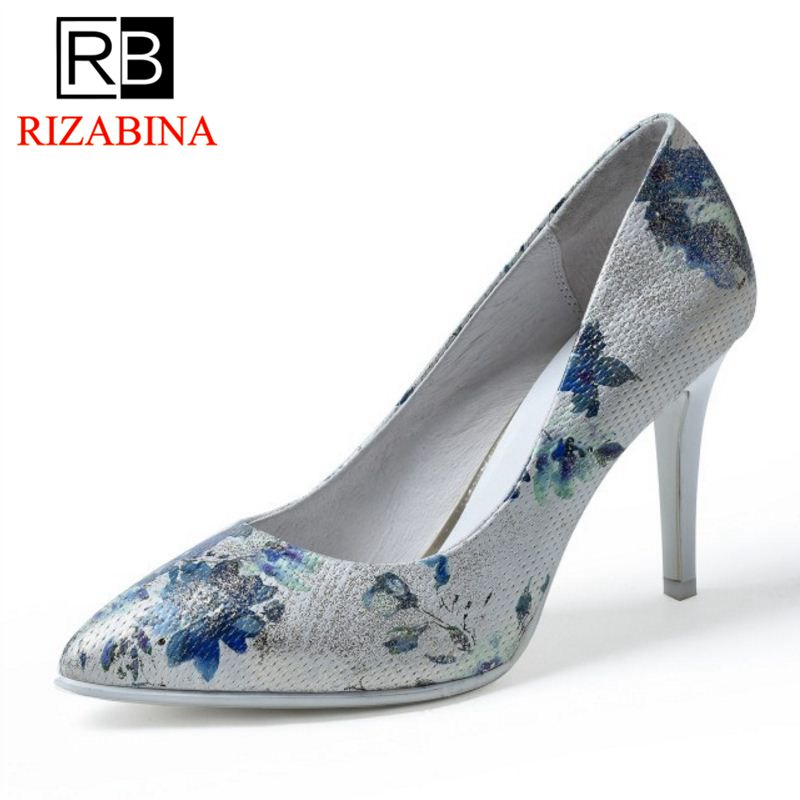 New Arrival Female Geniune Leather High Heels Shoes Women Pointed Toe Floral High Heeled Pumps Sexy Party Footwear Size 34-39 ladies real leather pumps shoes women pointed toe cross strap gladiator shoes fiork nude color sexy female footwear size 34 40