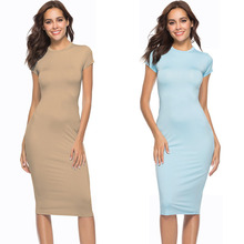 цены Women Sheath Dress High Street Bodycon Midi Hip Dress Fashion Short Sleeve O Neck Sexy Night Club Party Dresses Elegant Vestidos