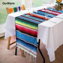OurWarm 10pcs Mexican Serape Table Runner Fiesta Themed Party Decoration Cotton Tablecloth Blue Blanket