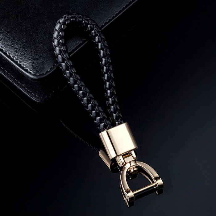 2019 High-Grade Woven Leather Car KeyChain 360 Degree Rotating Horseshoe Buckle Cute Key Rings Holder Genuine Charm Bag Pendant