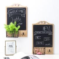 Iron art Key Holder Wall Blackboard Design hook with Iron Organizer wall hook key hanger Towel boat hooks home decoration