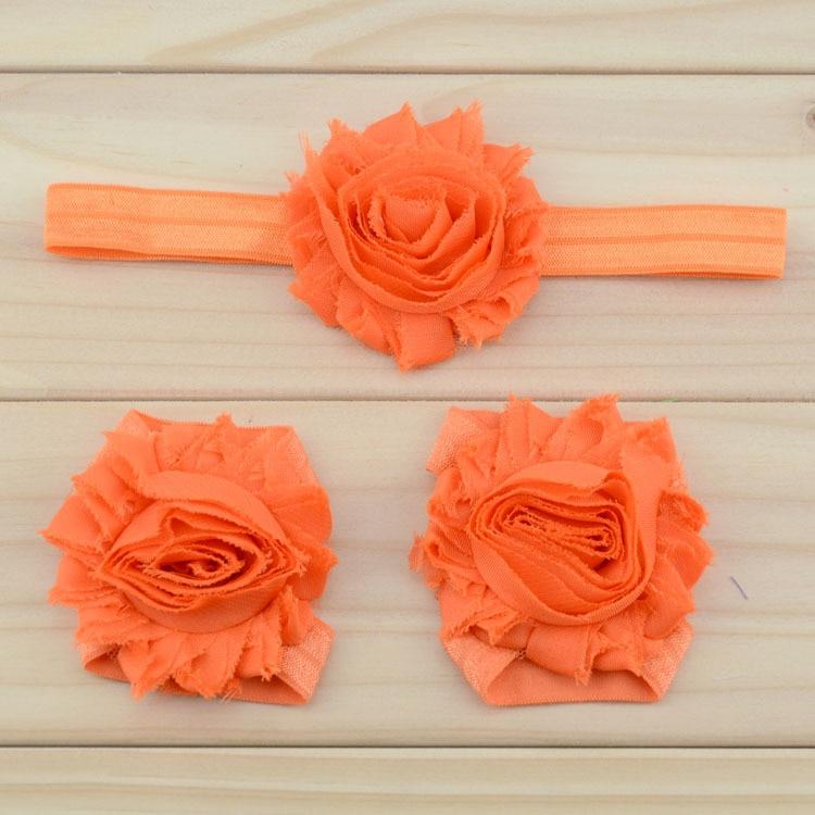 """Украшение для детей, повязка на голову, повязка для малышей цветы в стиле """"шэбби шик"""" повязка на голову босоножки ботинки и набор повязок для новорожденных; детская одежда для девочек аксессуары для волос - Цвет: orange"""
