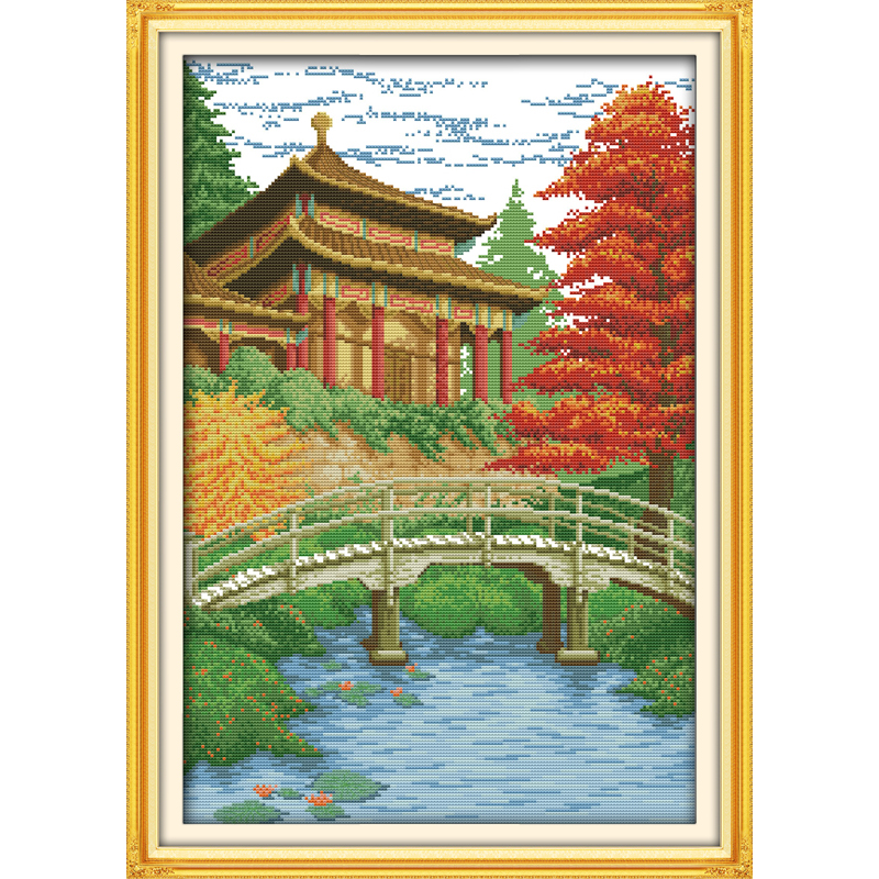 Everlasting love Meditation pavilion Chinese cross stitch kits  Ecological cotton stamped printed DIY Christmas decorations gift