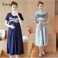 Envsoll amamentação maternidade dress two-piece suit curto-de mangas compridas roupas de maternidade para mulheres grávidas saia longa new coreano